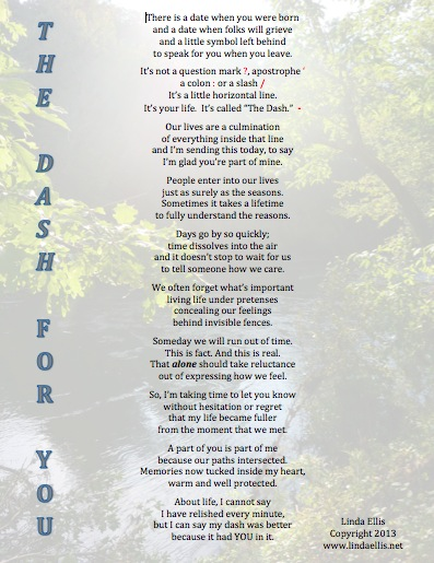 Poem the dash by linda ellis
